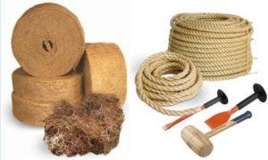 Фото: Материалы и инструменты для конопатки